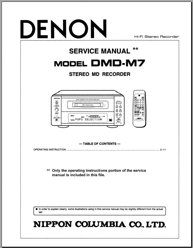 Denon DMD-M7 Instruction Guide, Analog Alley Manuals