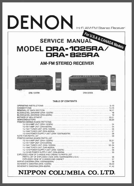 Denon DRA-1025RA, 825RA, Analog Alley Manuals