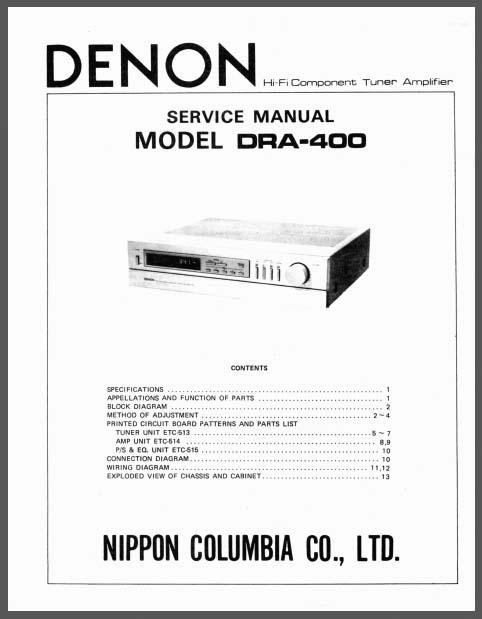 Denon DRA-400 Service Manual, Analog Alley Manuals
