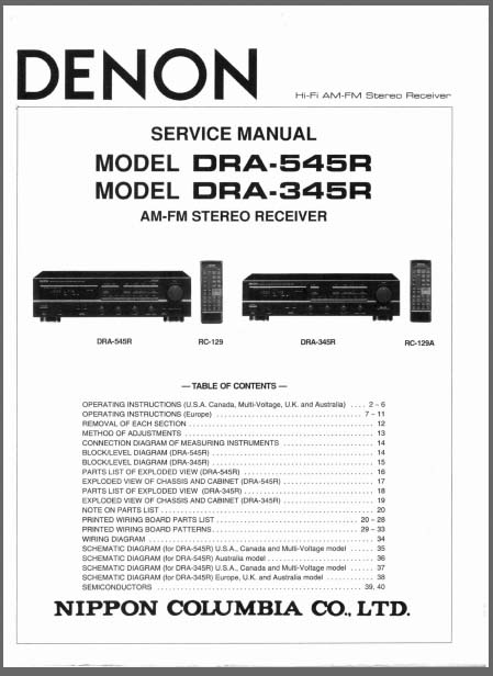 Denon DRA-545R, 345R, Analog Alley Manuals