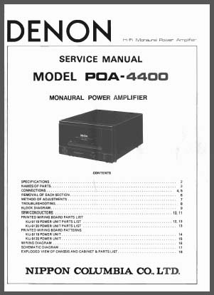 Denon POA-4400 Service Manual, Analog Alley Manuals