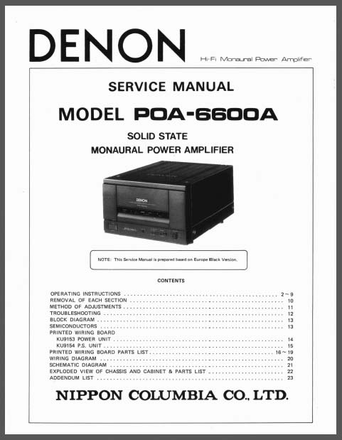 Denon POA-6600A Manual, Analog Alley Manuals