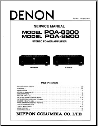 Denon POA-8300, 8200 Service Manual, Analog Alley Manuals