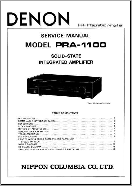 Denon PRA-1100 Service Manual, Analog Alley Manuals