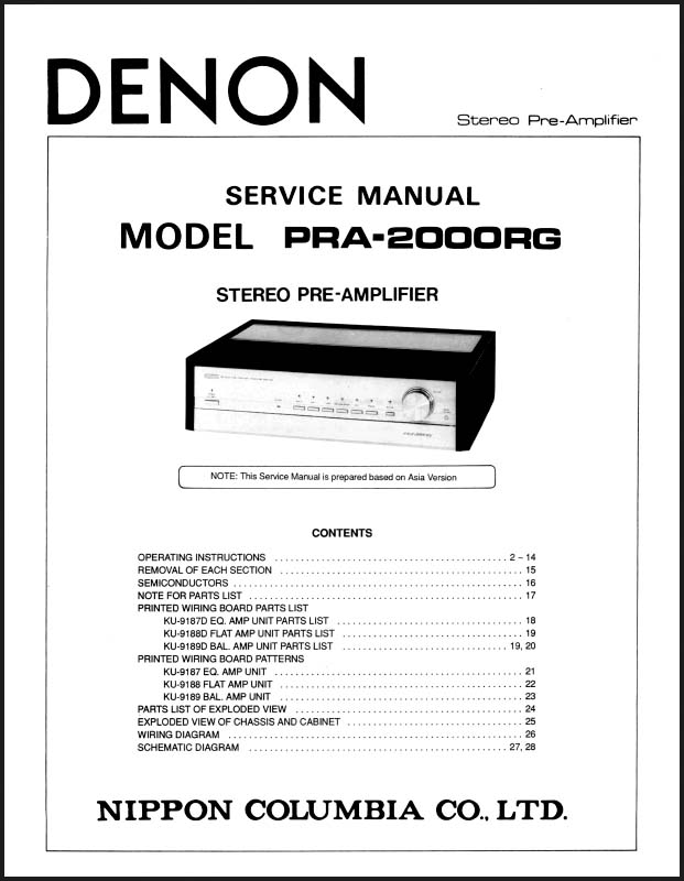 Denon PRA-2000RG Service Manual, Analog Alley Manuals