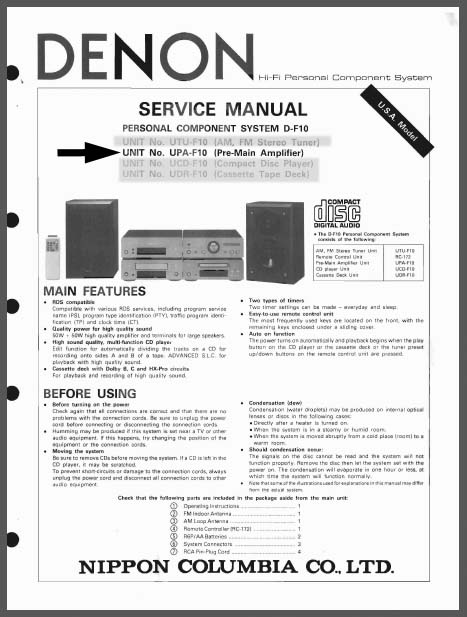Denon UPA-F10 Service Manual, Analog Alley Manuals