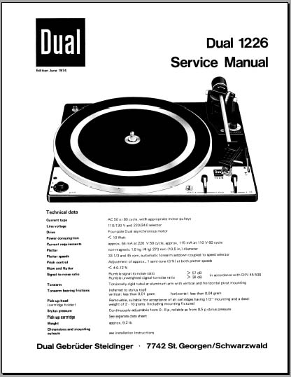 Dual 1226 Service Manual, Analog Alley Manuals