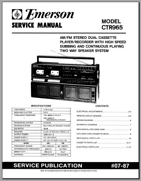 Emerson CTR-965 Service Manual, Analog Alley Manuals
