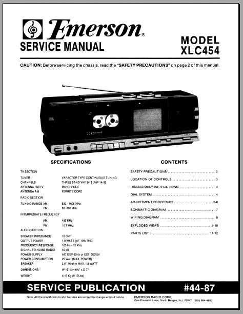 Emerson XLC-454 Service Manual, Analog Alley Manuals