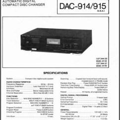 Alpine Type S Wiring Diagram 2001 Dodge Dakota Radio Fisher Dac-914, 915 Service Manual, Analog Alley Manuals