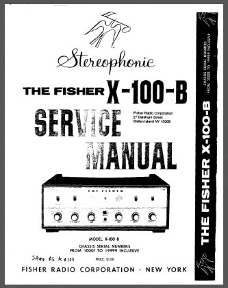 Fisher X-100-B Service Manual, Analog Alley Manuals