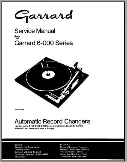 Garrard 6-000 Service Manual, Analog Alley Manuals