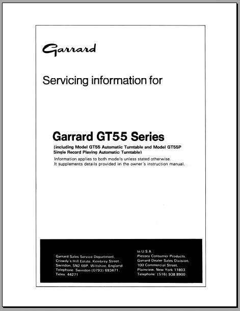 Garrard GT55 /P Service Manual, Analog Alley Manuals