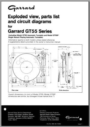 Garrard GT55 P Service Manual, Analog Alley Manuals