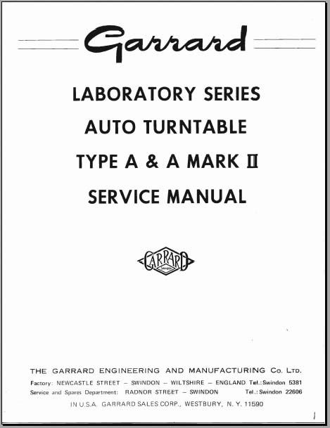 Garrard Type A Service Manual, Analog Alley Manuals