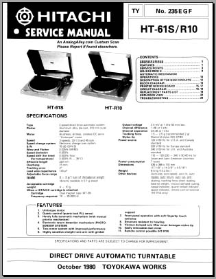 Hitachi HT-61S, HT-R10, Analog Alley Manuals