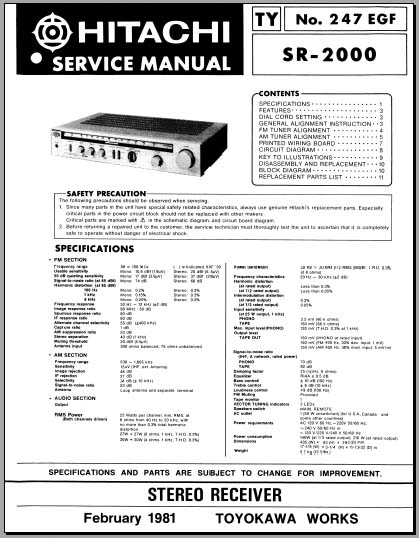 Hitachi SR-2000 Service Manual, Analog Alley Manuals