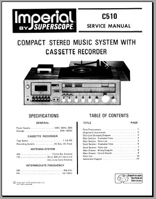 Imperial C510 Service Manual, Analog Alley Manuals