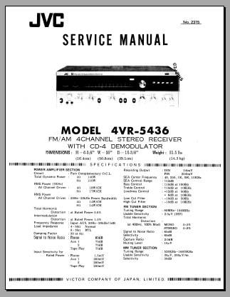 JVC 4VR-5436 Service Manual, Analog Alley Manuals