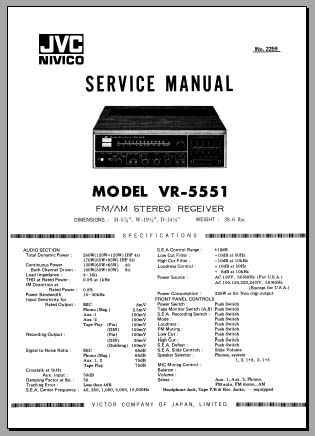 JVC VR-5551 Service Manual, Analog Alley Manuals