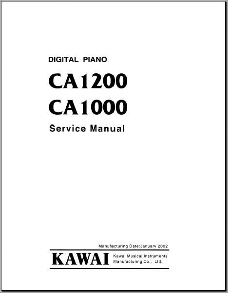 Kawai CA1200, CA1000 Service Manual, Analog Alley Manuals