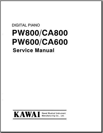 Kawai PW800/600, CA800/600 SM, Analog Alley Manuals