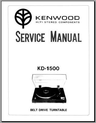 Kenwood KD-1500 Service Manual, Analog Alley Manuals