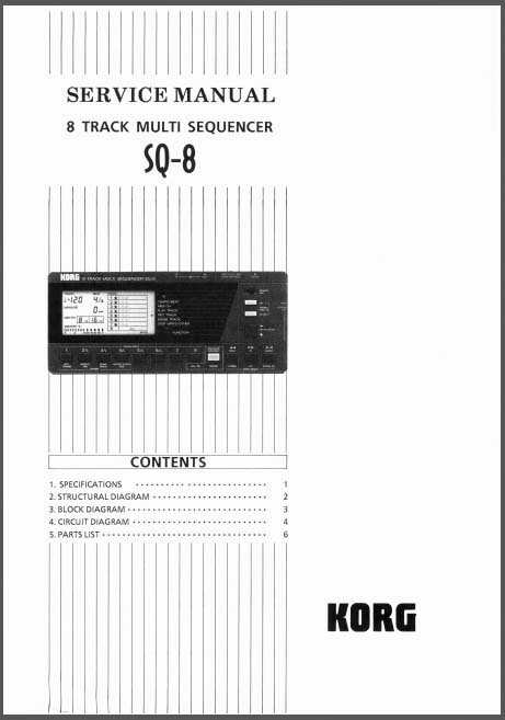 Korg SQ-8 [8-track] multi sequencer SERVICE MANUAL, Analog