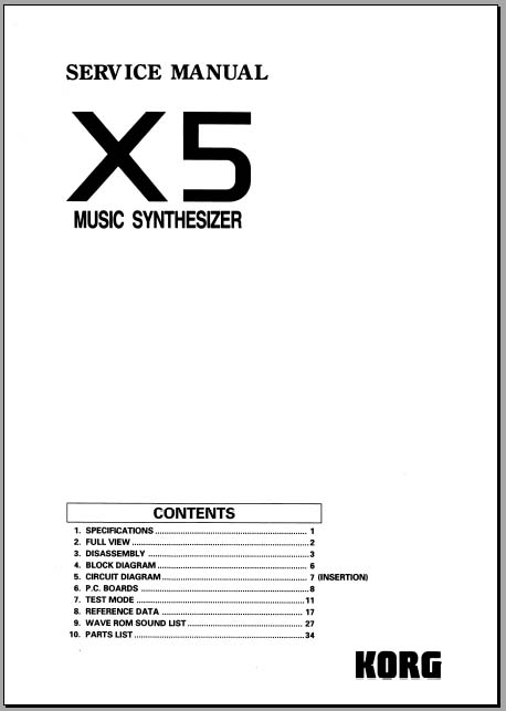 Korg X5 Service Manual, Analog Alley Manuals