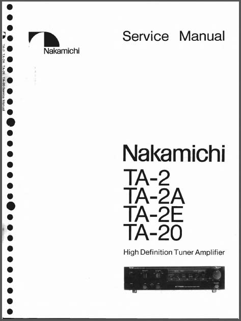 Nakamichi TA-2 /E/A/20 Service Manual, Analog Alley Manuals