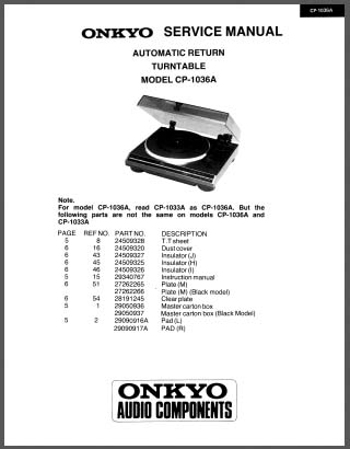 Onkyo CP-1036A Service Manual, Analog Alley Manuals