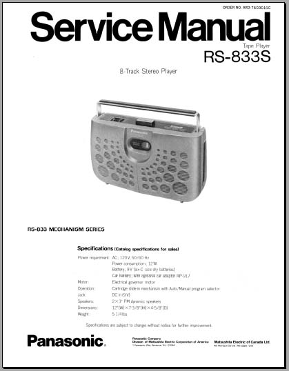 Panasonic RS-833S Service Manual, Analog Alley Manuals