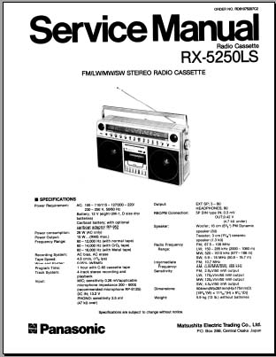 Panasonic RX-5250LS/LE Service Manual, Analog Alley Manuals