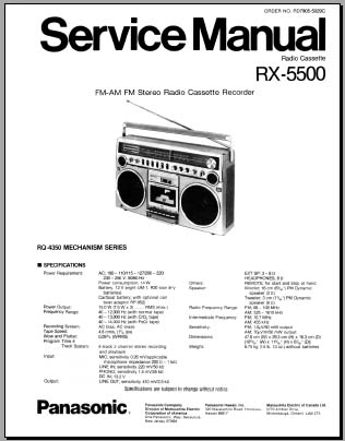 Panasonic RX-5500 Service Manual, Analog Alley Manuals