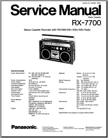 Panasonic RX-7700 Service Manual, Analog Alley Manuals