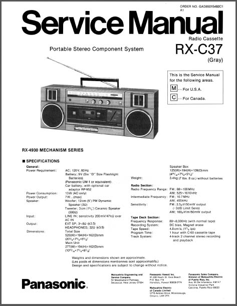 Panasonic RX-C37 Service Manual, Analog Alley Manuals