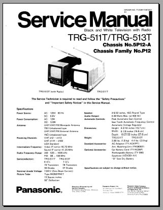 Panasonic TRG-511T, TRG-513T, Analog Alley Manuals