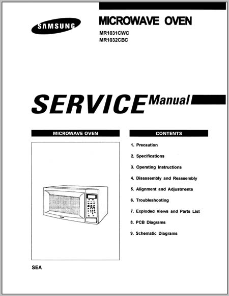 Samsung MR1031CWC, MR1032CBC Service/Instruction Manual