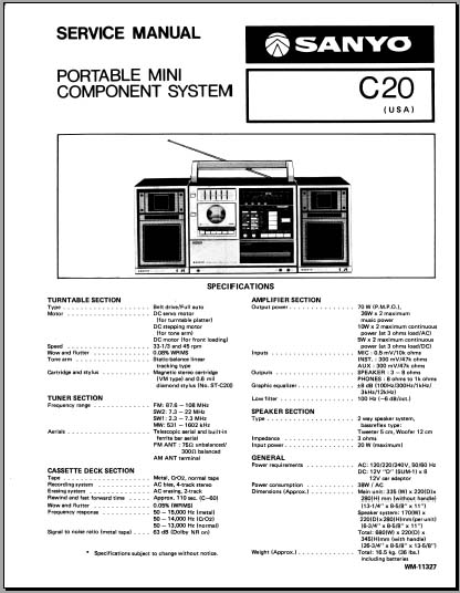 Sanyo C20 Service Manual, Analog Alley Manuals