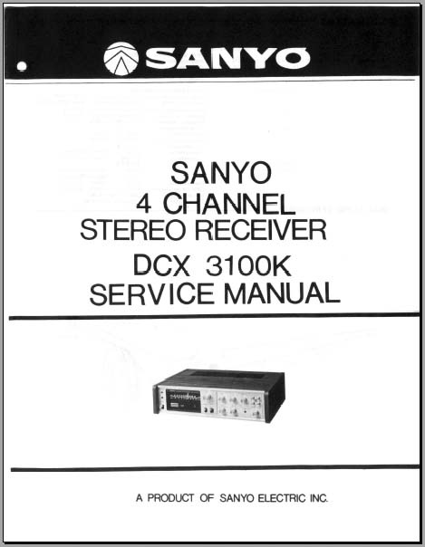 Sanyo DCX 3100k Service Manual, Analog Alley Manuals
