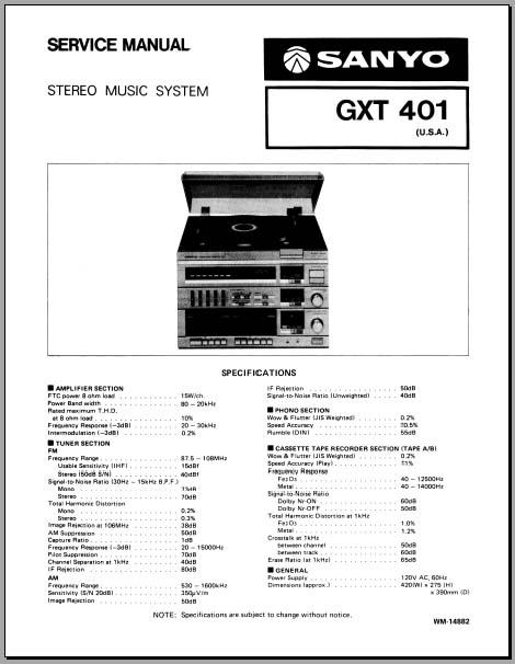 Sanyo GXT-401 Service Manual, Analog Alley Manuals