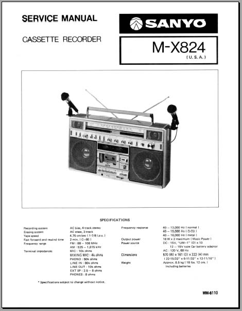 Sanyo M-X824 Service Manual, Analog Alley Manuals