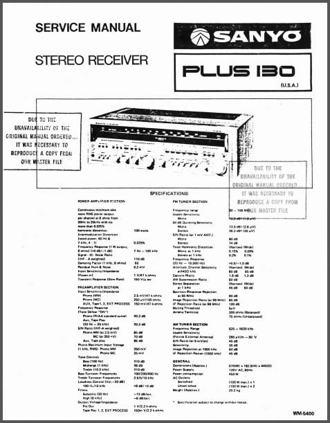 Sanyo Plus 130 Service Manual, Analog Alley Manuals