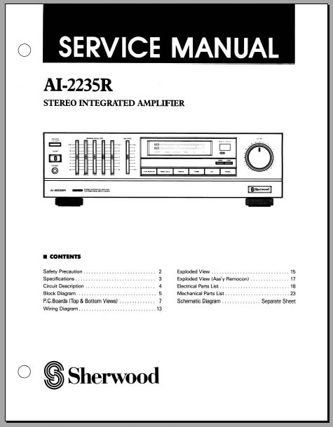Sherwood AI-2235R Service Manual, Analog Alley Manuals