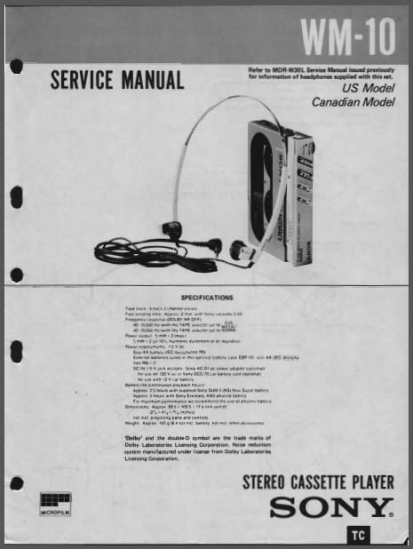 Sony WM-10 Service Manual, Analog Alley Manuals