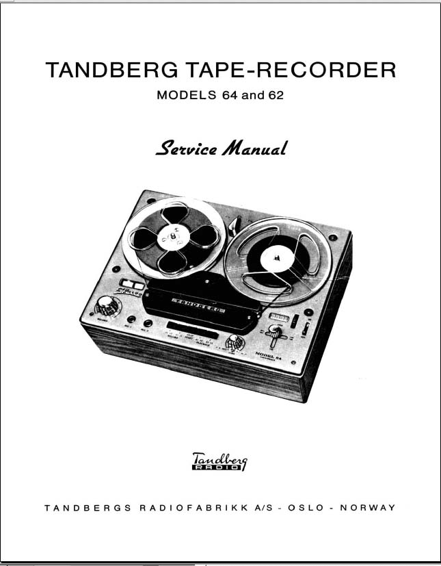 Tandberg Tape Recorder Model 64 and 62, Analog Alley Manuals