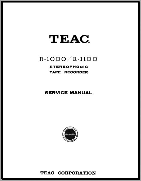 Teac R-1000/R-1100 Service Manual, Analog Alley Manuals