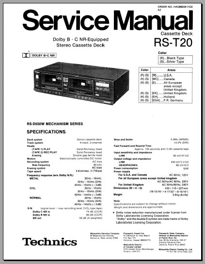 Technics RS-T20 Service Manual, Analog Alley Manuals