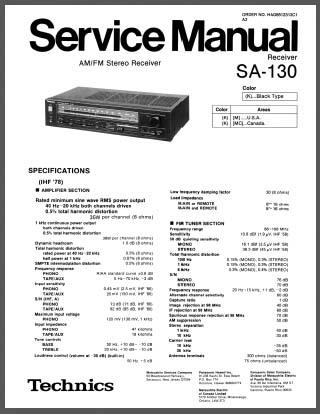 Technics SA-130, Analog Alley Manuals