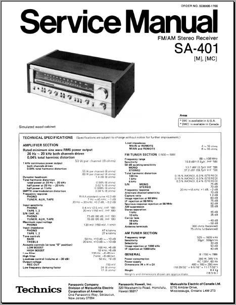 Technics SA-401 Service Manual, Analog Alley Manuals